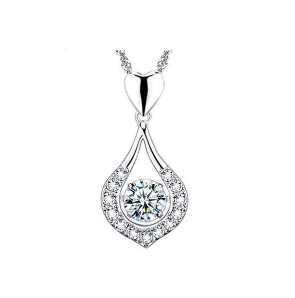 Waterdrop Heart Dance Pendant Solid 925 Sterling Silver Zorconia Rhodium Plated Necklace Accerrories for Women without Chains