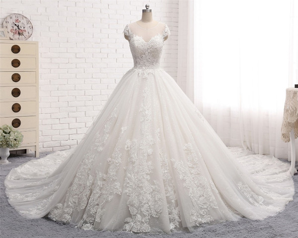 Vintage Vestido De Noiva Long Wedding Dresses 2018 Scoop Cap Sleeve Ball  Gown Chapel Train Beaded Lace Tulle Bride Dresses Casamento Old Fashioned