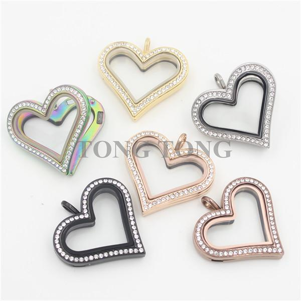 Hot sale Large Heart Magnetic Stainless Steel Czech Crystals Floating Charm Locket Photo Locket (free matching plate)