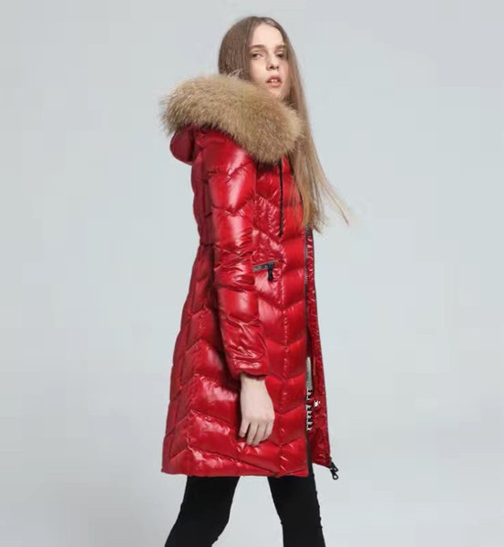 Brand Women down jacket 100% Real Large Raccoon Fur Collar Hooded Down Coat X-Long Thick Down Parkas