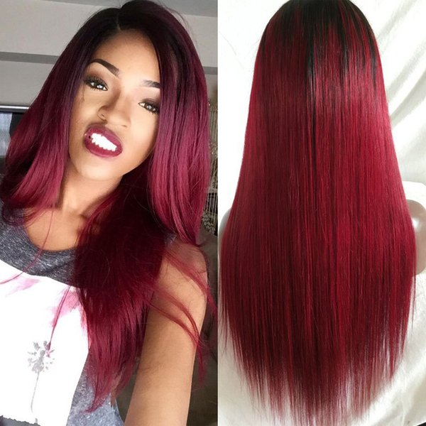 Top Grade 130% Density Ombre Burgundy Peruvian Silky Straight Full Lace Wig Lace Front Wig Ombre Peruvian Hair Wigs