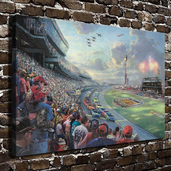 HD Printed Thomas Kinkade Oil Painting Home Decoration Wall Art on Canvas NASCAR THUNDER 24x36inch Unframed