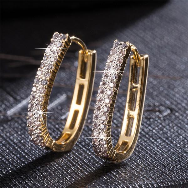 Partido Imitado Completa de Cristal CZ 18 K Banhado A Ouro Amarelo de Luxo Brincos de Argolas para As Mulheres de Casamento De Noiva Férias Moda Acessórios Brinco