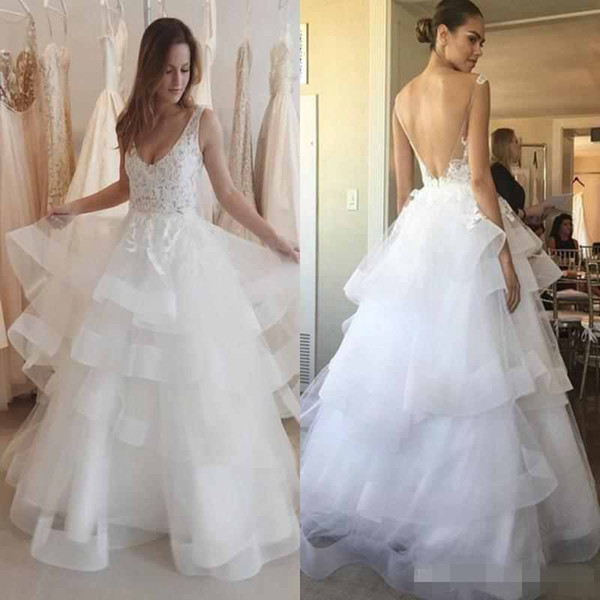 Modest 2017 Beach Wedding Dresses V Neck Layered Tiered Ruffle Skirts A Line Lace Appliques Backless Bridal Gown Boho Custom Made