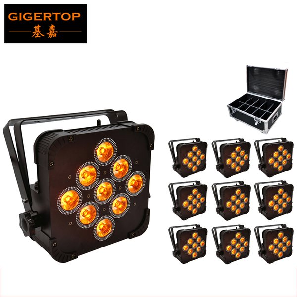 10XLOT Wireless DMX Led Flat Par Light 9x15W RGBWA 5IN1 Color Mixing Non Waterproof IP20 No Battery Flightcase 10IN1 Packing with wheels