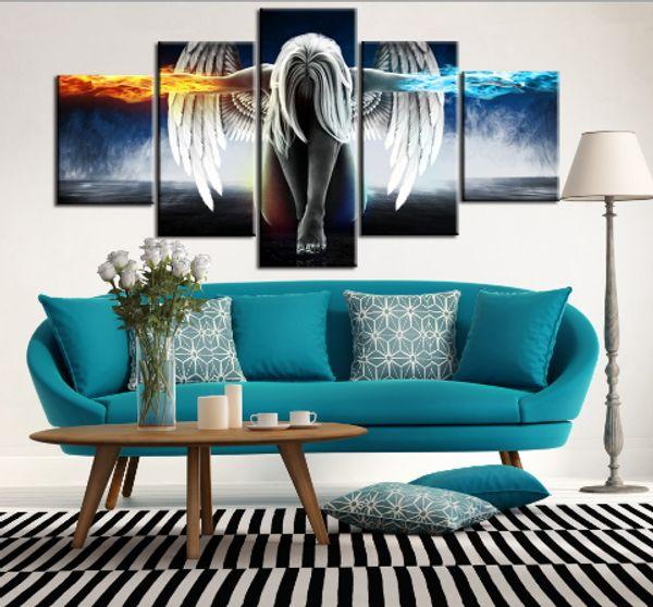 Pintura al óleo 5 pedazos / sistema de Demonios del ala del ángel Impreso sitio de la lona impresión animado Arte pintura de la pared decoración impresa decoración del hogar