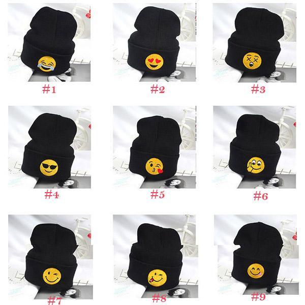 d01ee9a3c4da Emoji Warm Woolen Knitted Caps Baby Kids newborn Emoticons Hats New ...
