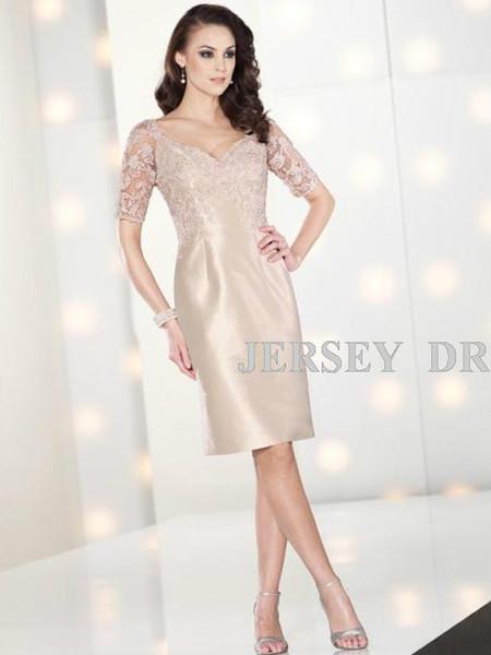 free shipping dinner dress 2018 short design v-neck half sleeve brides maid dresses lace green pink Mother of the Bride Dresses