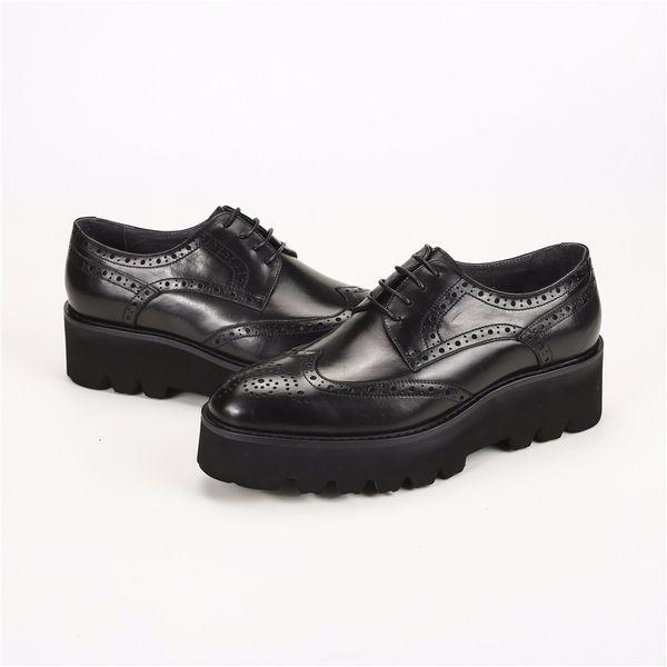Oxfords noir formelle plate-forme chaussures hommes robe chaussures en cuir véritable mariage époux chaussures en plein air mens occasionnel