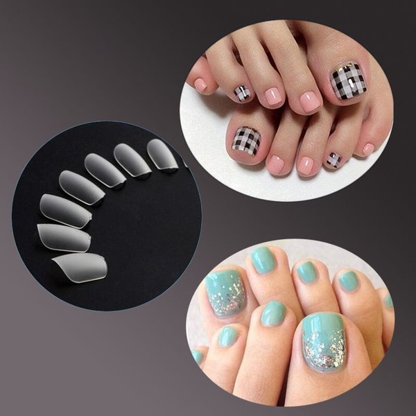 Natural Color False Toenails Full Cover Artificial French Acrylic ...