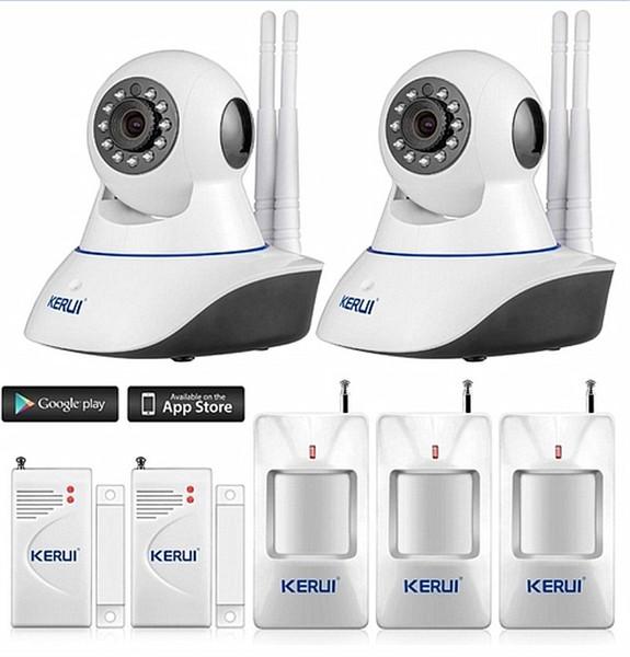 LS111- KERUI Android IOS APP 720P IP Camera WiFi Home Burglar camera Alarm System with PIR Motion Detectors door gap close sensor