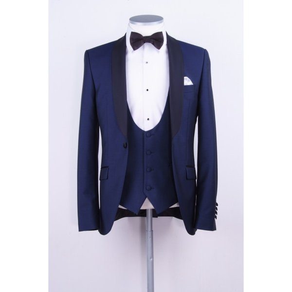 Wholesale- 2017 Latest Coat Pants Designs Navy Blue Groom Tuxedo Black Shawl Lapel Blazer 3 Piece Wedding Prom Suits For Men Groomsman Wear
