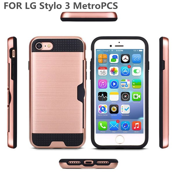 Brushed Textures Hard PC Soft Rubber Hybrid Mobile Phone Case Card Holder Cover For LG Stylo 3 Stylo 3 Plus Aristo Case