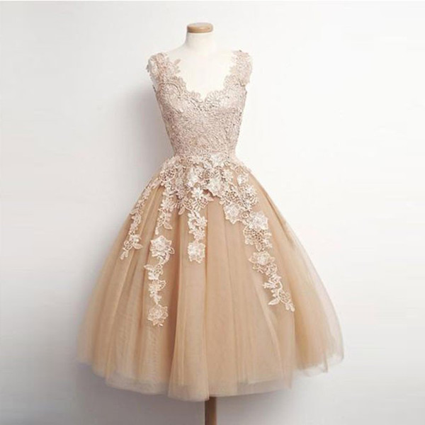 Cute Vintage Short Tea Length Prom Dresses Champagne Tulle with Lace A-line Formal Dress Applique Homecoming Dresses