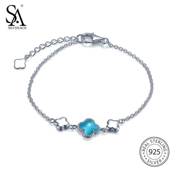 SA SILVERAGE Femmes Bleu Opale Trèfle Bracelet Réel 925 Bracelet En Argent Sterling pour Femmes Réglable Mignon De Mariage Fine Jewelry
