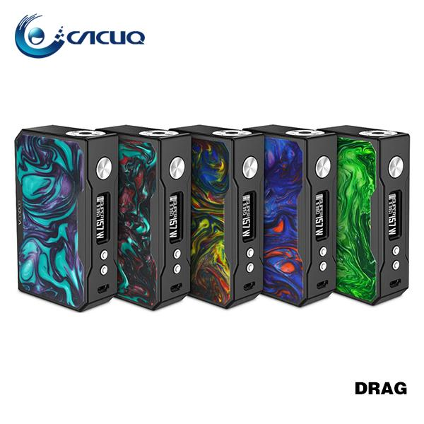 New Colors! Original VOOPOO DRAG 157W TC Box MOD Black Resin E Cigarette 157W VOOPOO Drag Mod Powered by Dual 18650 Batteries 100% Original