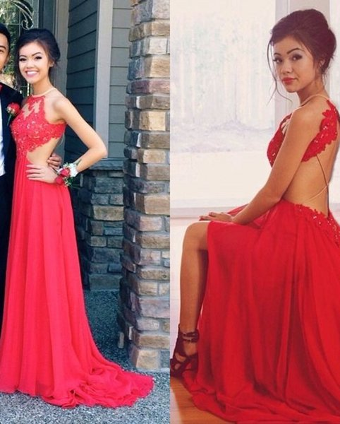 2017 New Sexy Halter Red Chiffon Backless Prom Dresses Tulle Lace Applique Split Long Formal Party Evening Dresses