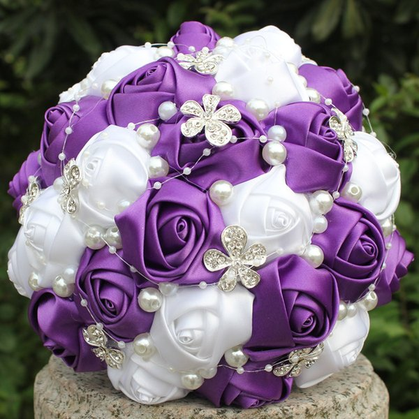 Purple And White Wedding Bridal Bouquets Wedding Supplies Artificial ...