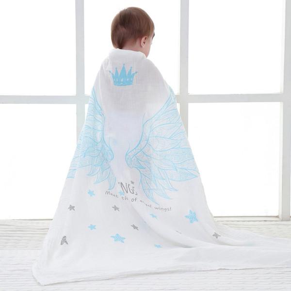 Muslin Baby Blanket Newborn Swaddle Wrap Cotton Gauze 2 Layers Baby Receiving Blankets Bath Towel Pink Blue Black Wings 47By47inch