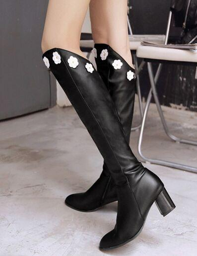 Wholesale New Arrival Hot Sale Specials Super Influx Warm Sexy Female Leather Flowers Appliques Noble Knight Elegant Overknee Boots EU34-46