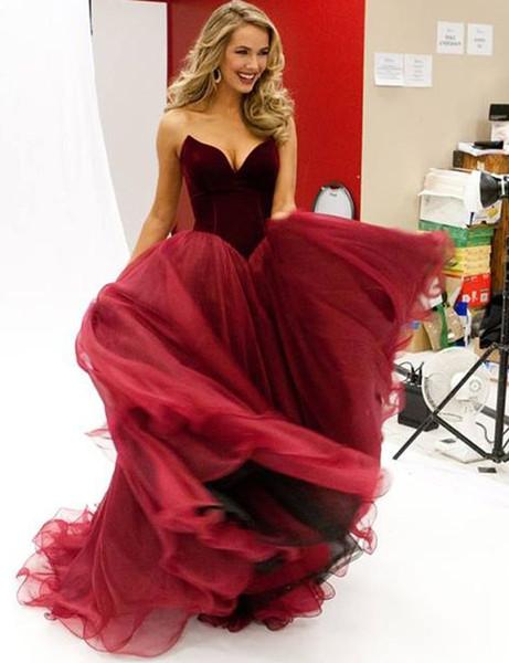 Borgogna prom Dresses Ball Gown Lace-up Back Soft Tulle Gonna velluto Top abiti da sera Sweep treno Autunno Inverno Quinceanera Abiti da festa