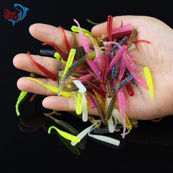 200PCS 4cm/0.3g Bass Fishing Worms 10 Colors Silicone Soft Plastic Fishing Lures Artificial Bait Rubber in Jig Head Hook Use
