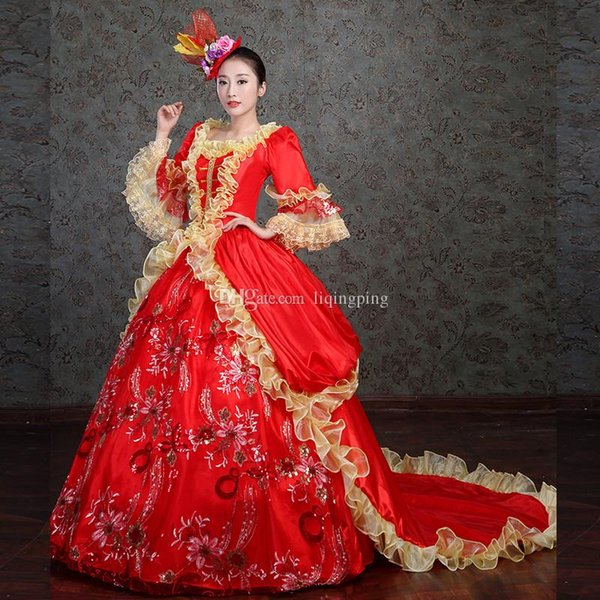 Brand New 2017 Red Square Neck Printing Pattern Lace Ruffles Marie Antoinette Period Dress Evening Banquet Tailing dress For Party