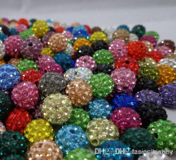 Livraison gratuite 10mm 200pcs / lot mixte couleur multi cristal cristal Perle Bracelet Collier Perles.Hot spacer perles Lot! Strass DIY i4242