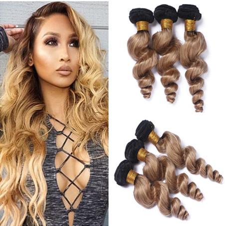 Virgin Brazilian #1B/27 Honey Blonde Ombre Human Hair Weave Bundles 3Pcs Loose Wave Dark Roots Light Brown Ombre Human Hair Wefts