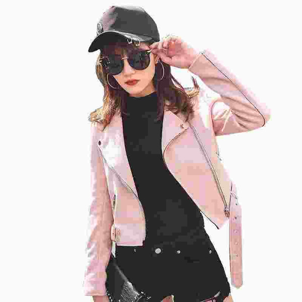 Womens Suede Jacket 2017 Spring Short Brown Faux Leather Jacket Women Badges Motorcycle Bikers Jaqueta De Couro SEN804