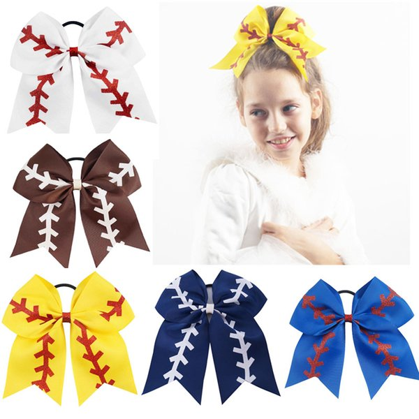 """best selling 7"""" Large Softball Team Baseball Cheer Bows Handmade Yellow Ribbon and Red Glitter Stiches with Ponytail Hair Holders for Cheerleading Girls"""