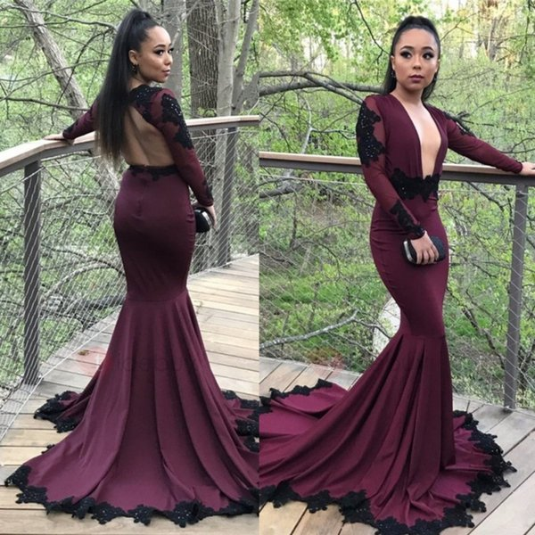 Sexy Burgundy Grape Mermaid Prom Dresses Black Appliqued Long Sleeves Plunging V Neck Black Girls African Party Gowns Evening Formal