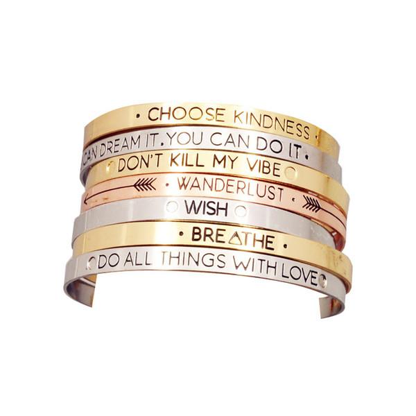 Модные аксессуары ювелирные изделия железо письмо храбрый желание микс дизайн манжеты браслет любителей подарок B3416