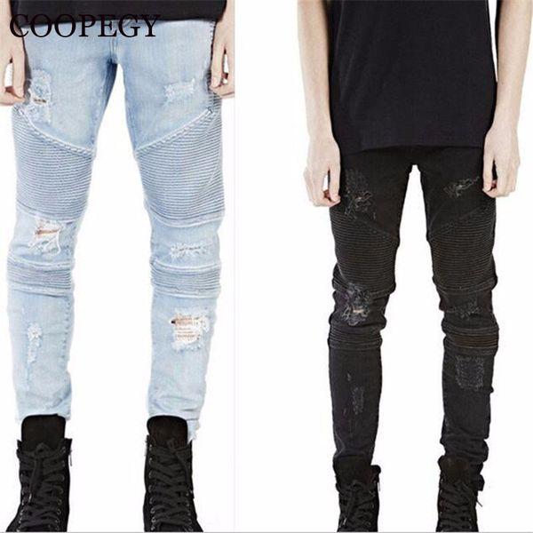 Toptan- tasarımcı yepyeni erkek siyah kot sıska yırtık streç ince moda hip hop yağma adam rahat kot bisikletçinin pantolon tulum jogger