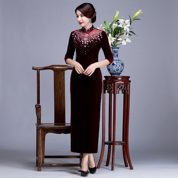 2019 New fashion high quality plus size 3/4 long sleeve velvet beading wine red/purple long cheongsam wedding dress evening dress qipao