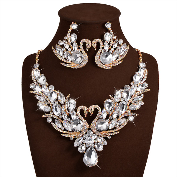 Bridal Jewellery Set Luxury Bridal Jewelry Sets Crystal Wedding Crown Earrings Necklace Tiaras Accessories Fashion Headdress Free Shipping