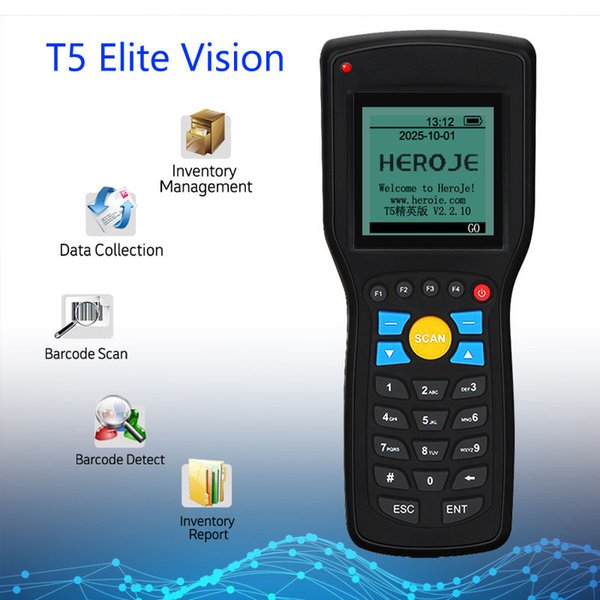 top popular Wholesale- Free Shipping!1D EAN13 UPCA E Wire wireless barcode scanner data Inventory collector Terminal 1D Barcode Scanner Wireless 433MHz 2019