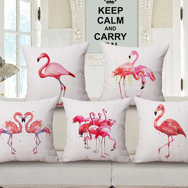 sofa set flamingo cushion cover decorative throw pillows cushion without inner home decor sofa cotton linen - Home Decor Cushions