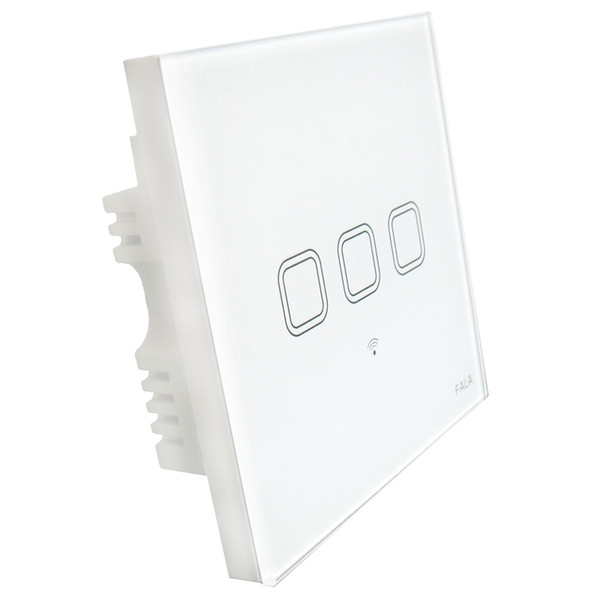 smart home 3 gang touch screen glass panel wifi light wall switch with android mobile iPhone app remote control by 2g 3g 4g wifi network
