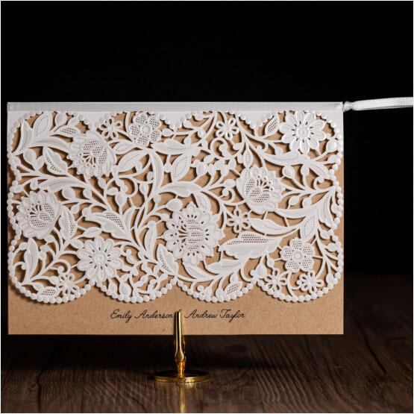 Wholesale Vintage Wedding Invitations Elegant Laser Cut Birthday Greeting Cards Envelopes 2016 Free Printing Flower Bridal