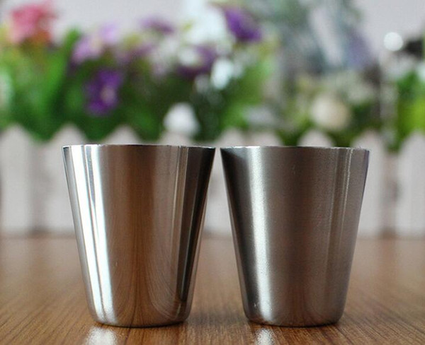 best selling DHL Free 400pcs  lot 30ml Portable Stainless Steel Shot Glasses Barware Beer Wine Drinking Glass Outdoors Cup
