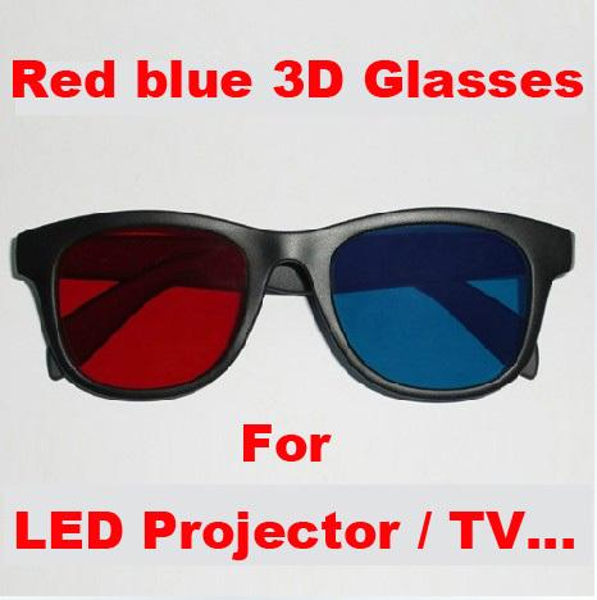 Toptan Satış - led projektör 3D TV Display cihazı için Freeshipping 5pcs / lots Kırmızı Mavi mavi Anaglyphic 3D Gözlük