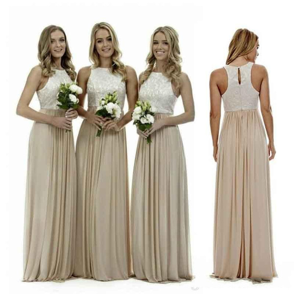 2017 Sexy Long Champagne Chiffon Bridesmaid Dresses Lace Beach Bridesmaids Dress Plus Size Wedding Guest Gowns Country Maid of Honor Dress