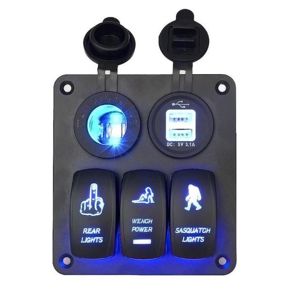 Painel Do Interruptor do carro 3 Gangue com Soquete do Cigarro e Dual USB Slot Azul DIODO EMISSOR de luz para Marine Boat Car Veículos Caminhões Rv
