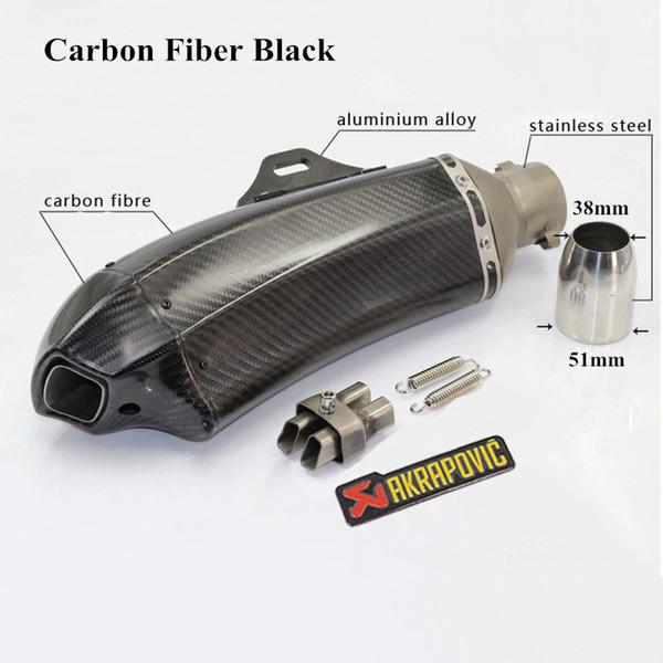 Black Cobra Style Carbon Fiber Motorcycle Exhaust Pipe Muffler Universal 51 mm Inlet Motorbike Exhaust Mufflers