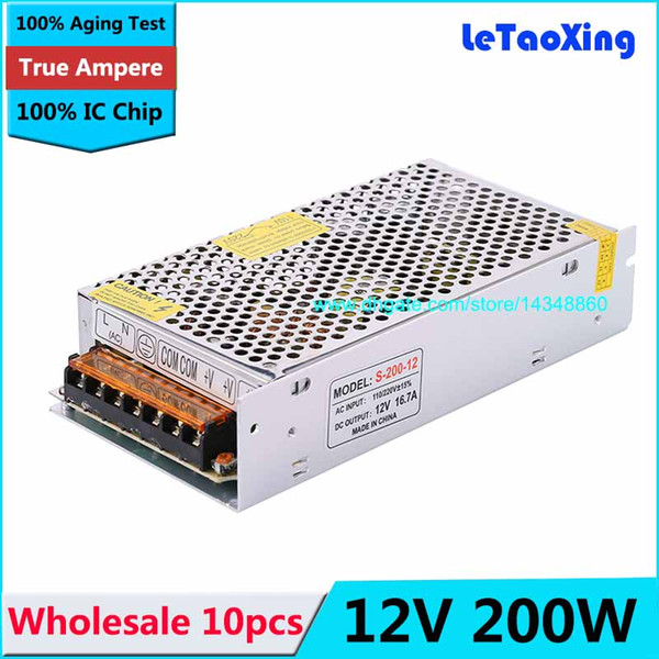 10pcs Universal AC 110V-220V To DC 12V 200W Switching Power Supply Regulated 16.7A LED Driver Adapter For 12 V LED Strip CCTV