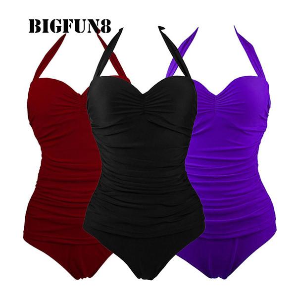 Toptan-Seksi Kadın Katı Halter Mayo Tek Parça Halter Mayo Ince Bodysuit Kadınlar Bikini Maillot De Bain Monokini Artı Boyutu BKLM01
