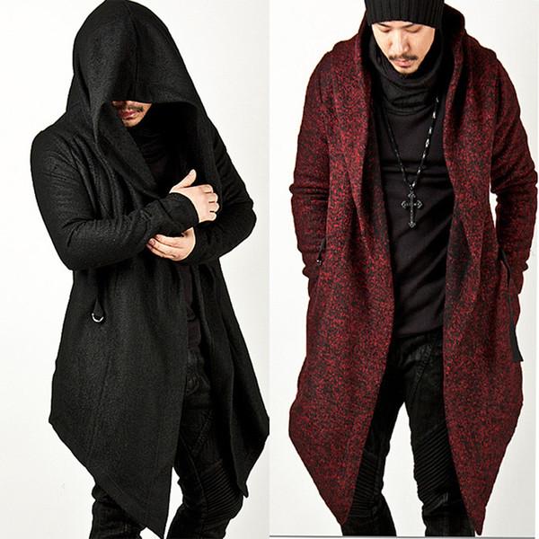 best selling Wholesale Avant Garde Men's Fashion Tops Jacket Outwear Hood Cape Coat Mens Cloak Clothing (Black Red) M-2XL