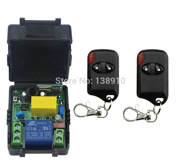 Wholesale- AC220V 10A 1CH Wireless Remote Control Switch System 1*Receiver + 2 *cat eye Transmitters for Appliances Gate Garage Door