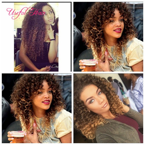 WHOLESALE BLONDE hair extensions 6pcs/lot SMART BEST QUALITY synthetic weft hair ombre BROWN color Jerry curl crochet braids hair weaveS